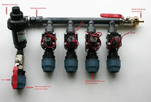 Kopfstation, Verteiler für Bewässerung, Beregung mit Hunter Magnetventile PGV, Größe: 4 Magnetventile