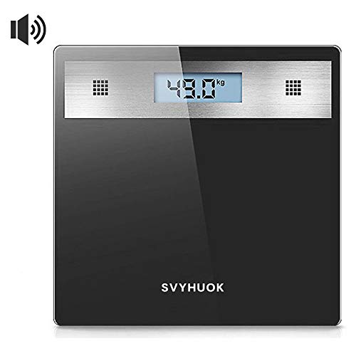SVYHUOK Talking Bathroom Scale, Electronic Glass Platform, Visual and Voice Display, High Precision Digital LCD Display, LBS and KG Measurement (Black)