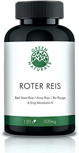 Roter Reis (120 Kapseln á 500mg) - 4,5mg Monakolin K - Deutsche Herstellung - 100% Vegan & Ohne Zusätze - Vorrat für 4 Monate - eBook Bluthochdruck & Cholesterinspiegel