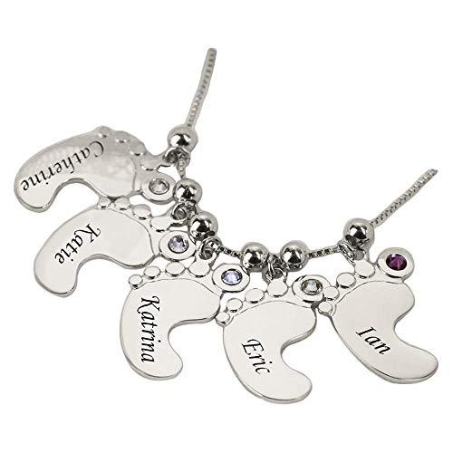 Namenshalskette für Mutter 1-5 babykette mit Namen und Birthstones, die Baby-Namen oder Datums Baby namenskette Silber 925