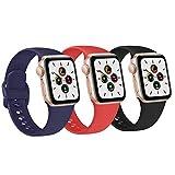 FUUI Correa Compatible con Apple Watch 38mm 42mm 40mm 44mm, Pulseras de Repuesto de Silicona Suave para iWatch Series 6 5 4 3 2 1 SE, Mujer y Hombre(3 Pack)(42mm/44mm M/L, Azul Marino/Naranja/Negro)