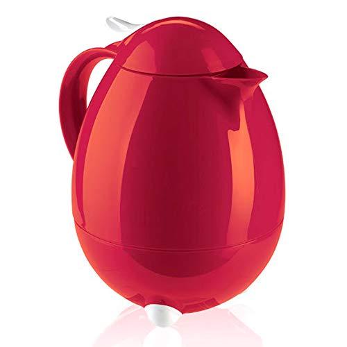 Leifheit Columbus 1, 0 L Isolierkanne, 100% dicht, Thermoskanne mit bewährter Aromataste, praktisches Öffnen und Schließen mit einer Hand, Kaffekanne, Teekanne, dunkelrot, hochglanz