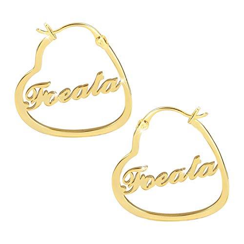 Pendientes personalizados con nombre grabado Pendientes de corazón Nombre de aro Nombre Gota para el oído para mujer(Oro 3.15)