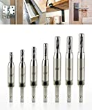 QWORK Set di 7 punte per trapano autocentranteda per cerniere porta , punta di trapano per cerniere : 2 mm , 2.8 mm , 3.6 mm , 4.4 mm , 5 mm , 5.2 mm , 6.3 mm
