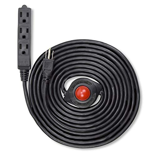 NEW! Electes 15 Feet 3 Grounded Outlets Extension Cord with Foot Switch and Light Indicator, 16/3, Black - UL Listed