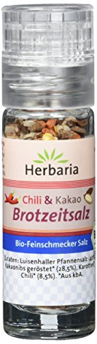 Herbaria Chili & Kakao Brotzeitsalz Mini-Mühle BIO, 3er Pack (3 x 12 g)