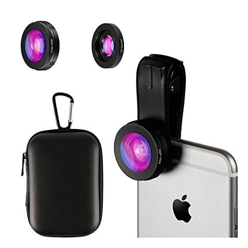 ELZO 2 in 1 Handy Objektiv Set Clip on Kamera Adapter mit Gegenlichtblende für Smartphones (0,45X Weitwinkel Objektiv, 15X Makro Objektiv)