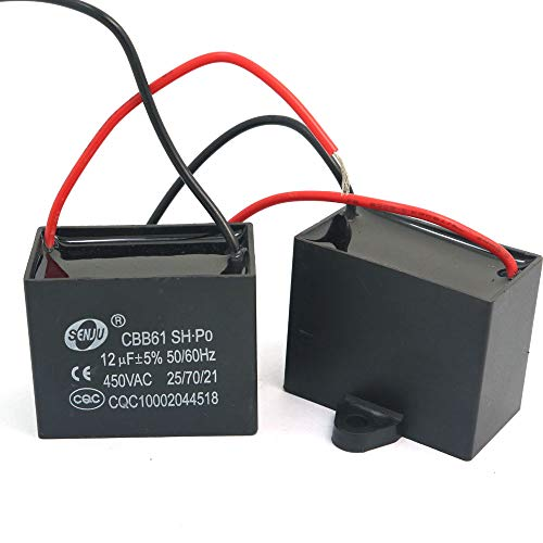 DollaTek 2Pcs CBB61 12uF 450V AC 50/60Hz Condensador Corriente del Motor de Ventilador del acondicionador de Aire