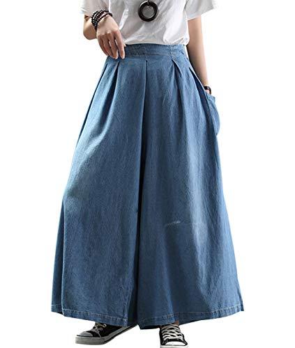 YESNO Women Casual Plus Size Loose Cropped Jeans Palazzo Wide Leg Denim Pants Skirts 3/4 Waist Gathered/Pockets PNK
