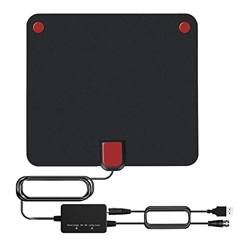 Amplified HD Digital Indoor TV Antenna with 2019 Newest Powerful Amplifier Signal Booster Support 4K 1080P 60-120 Miles Range Digital Antenna for HDTV Free View Channels (120miles)