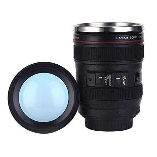 High Quality Cups Camera Lensvorm Kop Thee Mok RVS Thermosflessen Wereldwijd Winkel (Color : Black)