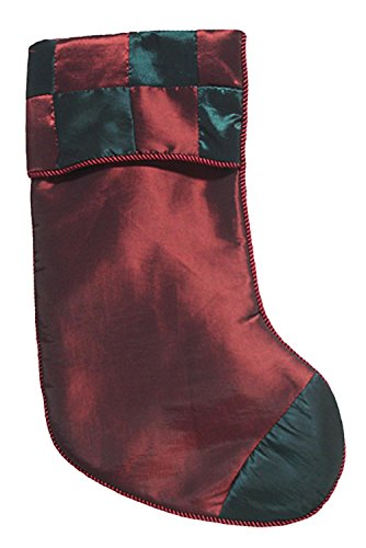 Season's Designs Red & Green Checkered Silk Christmas Stocking 17' #23329200002
