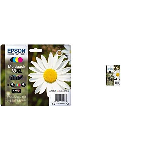 Epson 18Xl Serie Margherita Cartuccia Originale, Xl, Multipack, 4 Colori, Con Dash Replenishment Ready & C13T18014022 Inchiostro, Nero