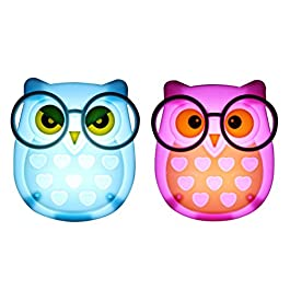 2 PCS Owl LED Plug in Night Light for Kids- Wall Lamp Take Good Care Children Sleep Light Sensor Auto Controlled Nightlights for Baby Nursing