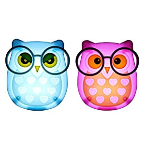 2 PCS Owl LED Plug in Night Light for Kids- Wall Lamp Take Good Care Children Sleep Light Sensor Auto Controlled Nightlights for Baby Nursing