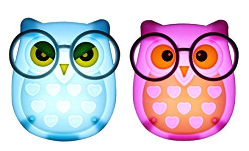 2 PCS Owl LED Plug in Night Light for Kids- Wall Lamp Take Good Care Children Sleep Light Sensor Auto Controlled Nightlights for Baby Nursing (Blue+Pink)