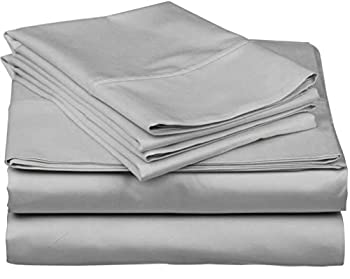 600-Thread-Count Best 100% Egyptian Cotton Sheets & Pillowcases Set - 4 Pc Silver Long-Staple Combed Cotton Bedding Queen Sheet for Bed Fits Mattress Upto 18   Deep Pocket Soft & Silky Sateen Weave