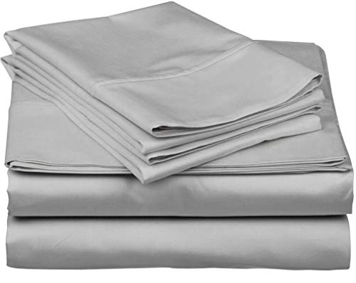 800 Thread Count 100% Egyptain Cotton Sheet King Silver Sheets Set, 4-Piece Long-Staple Combed Cotton Best Sheets for Bed, Breathable, Soft & Silky Sateen Weave Fits Mattress Upto 18'' Deep Pocket
