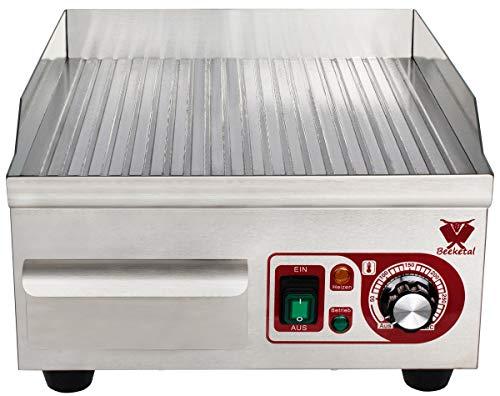 Beeketal 'BHGP-3' Profi Gastro Gusseisen Grillplatte elektrisch mit ca. 385 x 355 mm Grillfläche (gerillt), stufenlos 50-300 °C (2000W), Elektrogrill mit Spritzschutz und Fett Behälter