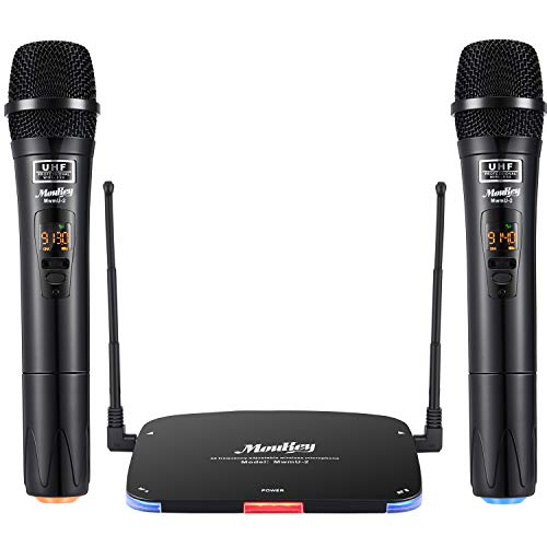 Moukey Wireless UHF Funkmikrofon System Dual Channel MwmU-2, Professionelles dynamisches kabelloses Karaoke Handmikrofon Set 80m/262ft Reichweite für Karaoke DJ Church Party