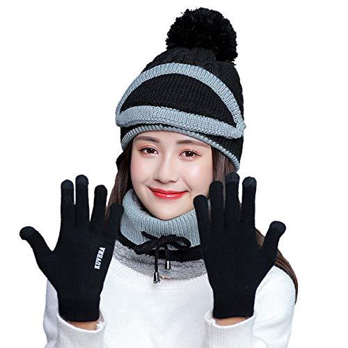Cachecol, Andoer Conjunto de lenço quente 4 peças femininas de inverno pescoço chapéu tricô touch screen luvas de inverno terno quente