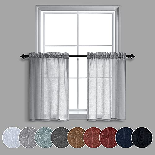 24 Inch Length Curtain Tiers for Loft Light Gray Faux Linen Short Length Sheer Valance Curtains for Basement(30 Inches Wide,2 Panels)