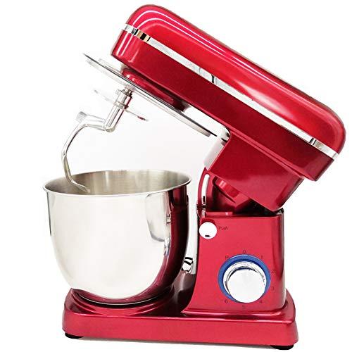 1500W Batidora Amasadora Repostería,5 Litre Stainless Steel Mixing Bowl Stand Mixer,6 Velocidades Robot Batidora Family Care Robot De Cocina,Red