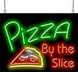 "Pizza by The Slice Neon Sign - 24"" Wide x 18"" high - Real, Quality Hand Bent Neon - Red & Green Letters with a Yellow, White & Red Pizza Slice Graphic"