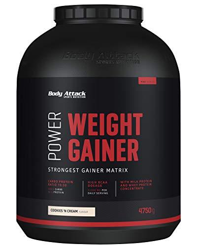 Body Attack Power Weight Gainer (aumento de peso), galletas y crema, 4,75 kg, 100% desarollo masa, carbohidrato- proteína en polvo para el aumento muscular con proteína de suero, ideal para Hardgainer