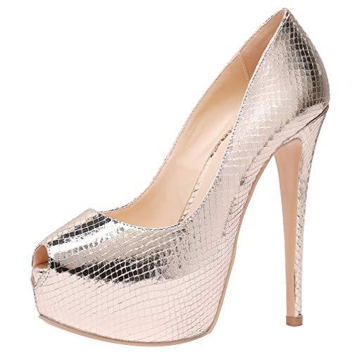 AOOAR Peep-Toe Stiletto - Zapatos de noche con plataforma para mujer, color Dorado, talla 36 EU