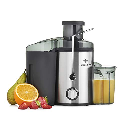 MisterChef Juice Extractor, 500W Stainless Steel Juicer for Fruit & Vegetable, Wide Mouth for Large Apples- BPA Free - Long 1m power cord + FREE RECIPE BOOK + 2 YEAR WARRANTY + NICE COLOR GIFT BOX