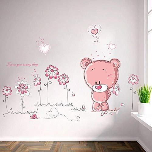 SHYSBV Stickers muraux Cartoon Cute Pink Lanimal Flower Baby Children Kids Bedroom Room Decor Wall Stickers Kids Nursery Decal Sticker