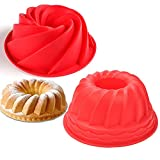 Silicone Baking Molds, Gzingen 2 Pack Silicone Bundt Cake Pen Mold, Fluted Round Cake Pan, Silicone...