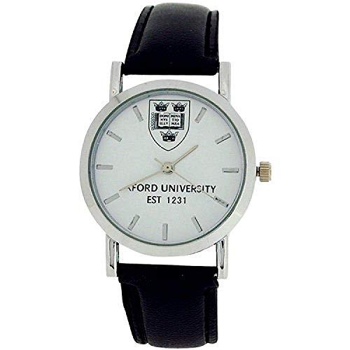 Reloj Oficial de la Universidad Oxford EST 1231 con Esfera Blanca y Correa de Poliuretano Negra OU01C
