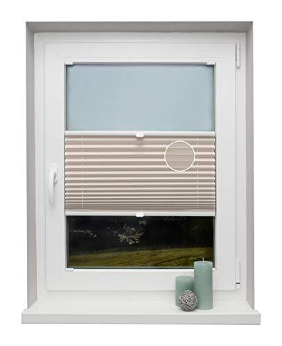 Plissee auf Maß Thermo für alle Fenster Montage in der Glasleiste Blickdicht mit Spannschuh Sonnenschutzrollo Creme Breite: 41-50 cm, Höhe: 40-100 cm