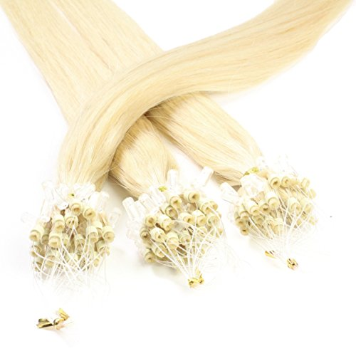 hair2heart 50 x 1g Echthaar Microring Loop Extensions, 60cm - glatt - #60 lichtblond