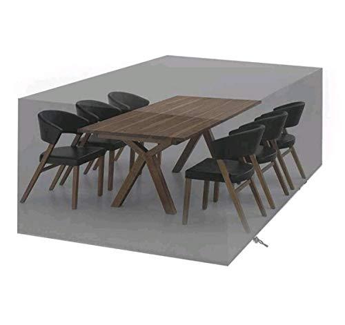 Cubierta de muebles de jardín impermeable, cubierta de mesa para patio protectora de muebles 420D Oxford tela negra ratán muebles de jardín cubierta rectangular negro (tamaño 135 x 135 x 75 cm)
