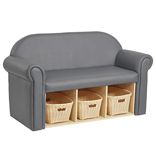 FDP Little Lux Upholstered Kids Sofa with Storage Compartments and Woven Baskets, Plush Furniture for Children Rooms - Gray