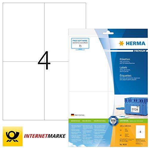 HERMA 8630 Universal Etiketten DIN A4 groß (105 x 148 mm, 10 Blatt, Papier, matt) selbstklebend, bedruckbar, permanent haftende Adressaufkleber, 40 Klebeetiketten, weiß