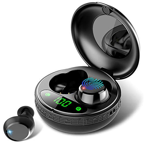 Wireless Headphones, True Wireless Earbuds with Portable Charging Case, Bluetooth Headphones with HD HiFi Stereo, Touch Control, Built-in Mic, IP7 Waterproof Wireless Earphones for iPhone/Android