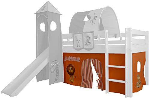 XXL Discount Rideau 3 pièces 100% Coton Rideau de lit Rideau avec Ruban pour lit Mezzanine lit superposé lit superposé lit Parapluie (Orange/Beige, Jungle)