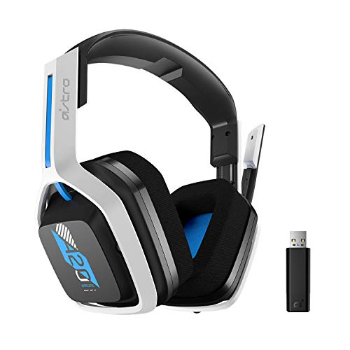 ASTRO Gaming A20 Auriculares inalámbricos Gen 2 para PlayStation 5, PlayStation 4, PC, Mac, Blanco/Azul