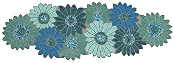 Handmade Farmhouse Floral Embroidery Beaded Table Runner for Tableptop in Teal/Turquoise/Aqua Colour - Home Decor Mat for Wedding Party Baby Shower Family Gathering - Pack of 1 Measure 13 x 36 inches