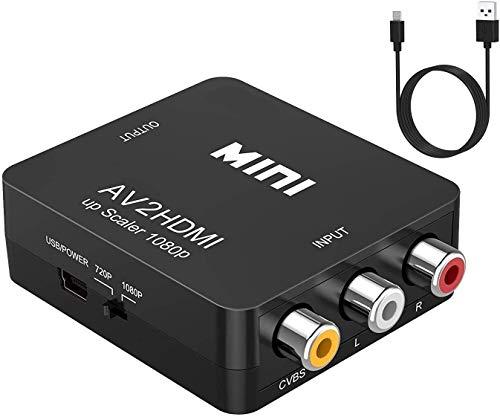 RCA AV to HDMI コンバーター コンポジットをHDMIに変換アダプタ AV2HDMI音声転送 720/1080P USBケーブル付き