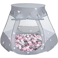 Selonis Tente 105X90cm/200 Balles Balles Château avec Les Balles Plastiques Piscine À Balles pour Enfants, Gris:Blanco/Gris/Rose Poudré