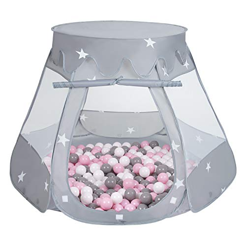 Selonis Baby Spielzelt Mit Plastikbällen Zelt 105X90cm/600 Stück Bälle Plastikkugel Kinder, Grau:Weiß/Grau/Puderrosa