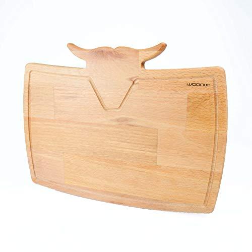 WODDUN Snijplank, serveerplank, premium beukenhout, bio-steakbord, hout, duurzame broodplank, keukenplanken, ontbijt houten plank met sapgoot keuken boards 40 x 24 x 1,8 cm snijplanken (model-2)