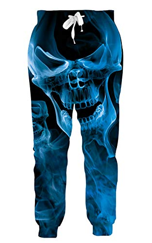 Goodstoworld Blue Fog Skull Sweatpants for Men Women Funny Psychedelic Personalized Hip Hop Rock Hipster Jogger Pants Sports Trousers Tracksuit Halloween Clothing