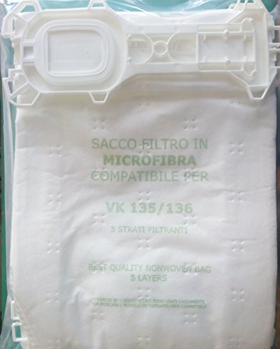 FL135unidades 6piezas Bolsas de microfibra Aspiradora de repuesto compatible con color marca color Vorwerk Folletto Modelo color, Kobold VK 135VK 136
