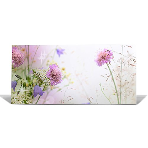 banjado Design Magnettafel weiß | Wandtafel magnetisch 37x78cm groß | Metall Pinnwand | Memoboard mit Magneten und Montageset | Motiv Glitzernde Wiese